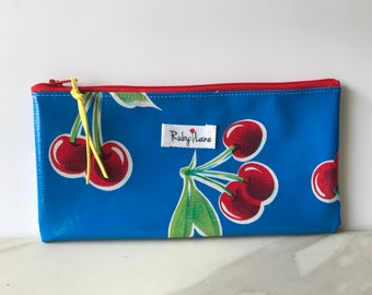 Long Oilcloth pouch / Zipper pouch / Pencil pouch / Makeup brush pouch / Blue cherry