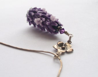 Lavender in Bloom Art Glass Bead Pendant in Mauve with Organic Lavender Sachet Buds