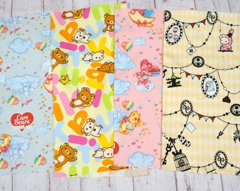 Care bear Rikakkuma and sentimental circus print  fabric scrap 25 cm by 25 cm or 9.6 by 9.6 inches each set of 4 pieces sc04