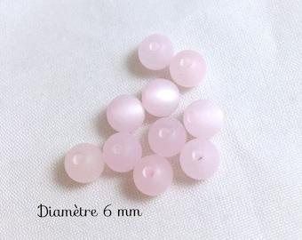 10 small round beads - light pink - satin Polaris 6 mm in diameter