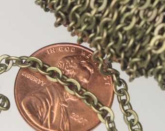 Antique Brass Chain Bulk, 32 ft spool of Antique Brass Flat Soldered Cable Chain - 3.4x3.4mm SOLDERED Link ,Wholesale necklace Chain