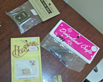 Vintage Dollhouse Bible, Clothes Hangers, Door Knob w/Latch and Keys and Metal Hardware