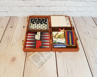 Vintage Mini Travel Game Set Checkers Chess Backgammon Cribbage Dominoes Cards