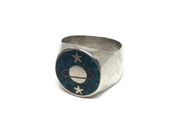 Mens Turquoise Inlay Ring Size 10 1/2 with Celestial Motif