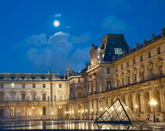 16 x 20 art print - Paris - Debussy's Clair de Lune - Fine art photo - art museum, moonlight, architecture - City of Light - azure, golden