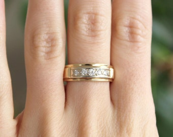14k Yellow Gold diamond half hoop ring band wedding