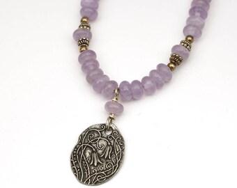 Flower necklace, purple amethyst beads, britannium pendant, 19 3/4 inches