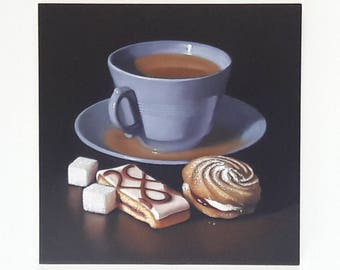 Original oil painting, Blue tea cup with Mr Kipling cakes, still life