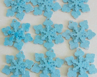 ONSALE was 9.95 set of 9 snowflake ornaments, package tie on with winter blue glitter