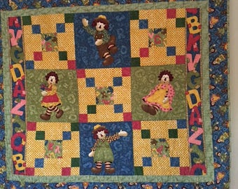 Raggedy Ann Quilt, Quilts for Sale, Handmade Quilts, Baby Quilt, Childs Quilt, Boys Quilt, Girls Quilt, Baby Shower Quilt