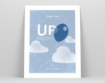Disney Up ~ Disney Poster, Carl and Ellie, Disney Art, Movie Poster, Art Print, Wall Art, Nursery Art, Nursery Print