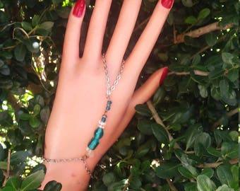 New Clear Blue Hand-Jewelery. Adult Sized Hand-Bracelet. Women's fashion, stylish jewlery. New Blue Hand~Bracelet.