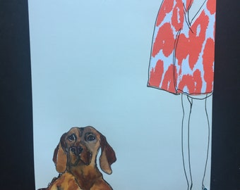 Girl with Orange Dress and Brown Dog Illustration Ink Drawing with Watercolor