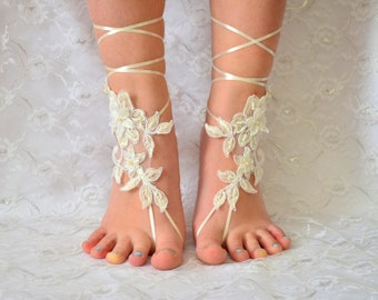 Lace Wedding Shoes, Ivory Barefoot sandles sandals, beach wedding shoes, wedding lace shoes, bridesmade gift, beach shoes