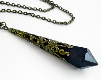 Jet Black Prism in Bronze Filigree Pendant Necklace Jewelry Crystal Jewellery