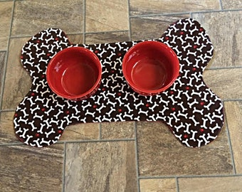 Reversible Dog Bone Placemat, Pet Placemat, Dog Food Placemat, Brown Dog Placemat, Red Dog Placemat, Polka Dot Dog Placmat Bone Shaped Mat