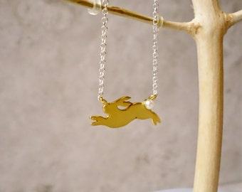 Gold Rabbit Necklace, Rabbit Necklace, Bunny Necklace, Rabbit Charm, Gold Rabbit, Gold Necklace, Easter Necklace, rabbit Jewellery, Bunny