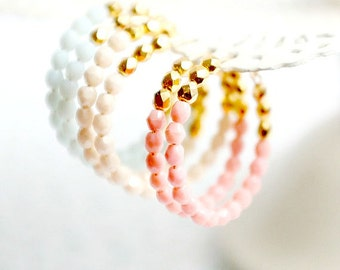 Pink and Gold Beaded Hoops, White bead hoops, Gold hoops, thin hoops, thin gold hoops, Silver hoops, thin silver hoops, gift for girlfriend