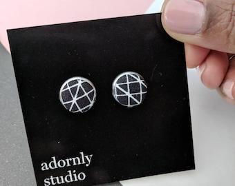 Black & white fabric earrings