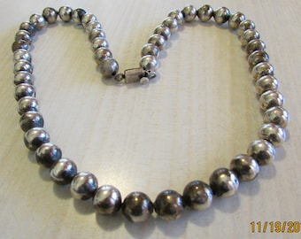 Sterling Silver Bead Necklace From Mexico 20""