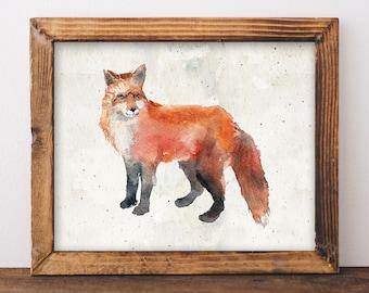 Fox Printable Art Print, 8x10 11x14 Watercolor Cabin Decor, Fox Poster, Cabin Wall Art, Mountain Print, Nursery Print, Download