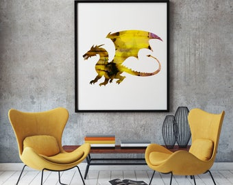 Golden Dragon Print Art Poster Beast Illustration Home Decor
