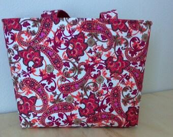 Large Tote, Paisley, Red, Pink, Orange, White, Gold Metallic, Market Bag, Book Bag, Gift, Handmade, 100% Cotton