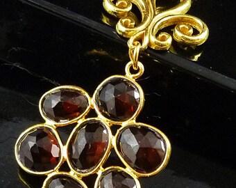 Raspberry Garnet 22k Gold Vermeil Flower Pendant and Gold Filled Necklace