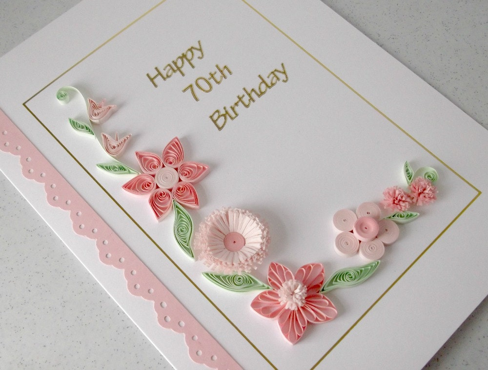 Quilled 70th birthday card paper quilling zoom stopboris