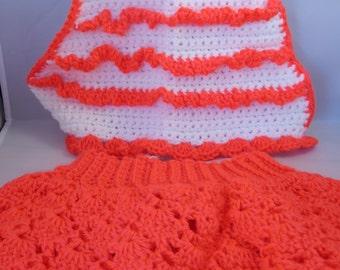 Size 12 Mos Girl's Crochet Halter and Skirt Neon Orange and White