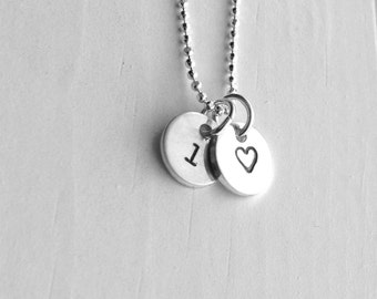 Sterling Silver Initial Charm Necklace, Letter l Necklace, Tiny Heart Necklace, Personalized Jewelry, Sterling Silver Jewelry, All Initials
