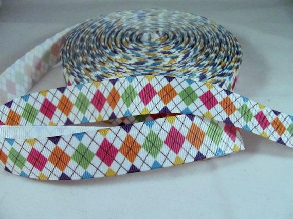 "1 Yard 7/8"" Harlequin Diamond Ribbon in Primary Colors"