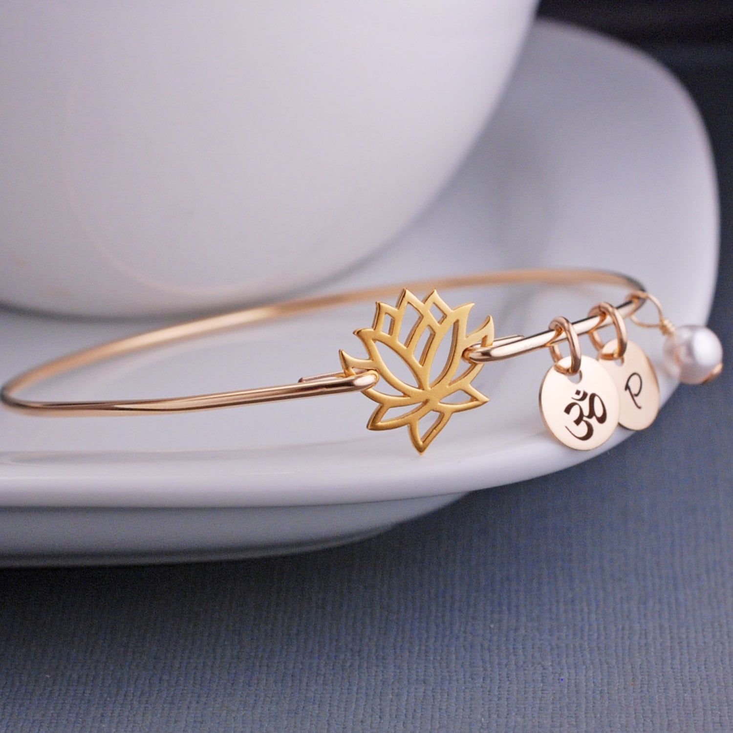 Yogi Gift Gold Lotus Jewelry Lotus Flower Bangle Bracelet
