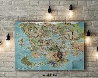 Dungeons and Dragons Inspired, Fandom Map of Faerun, Forgotten Realms, World Map, Custom Raised Canvas Art Piece