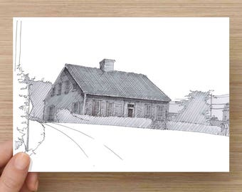 Ink Drawing of historic Cape Cod House in Cape Cod, Massachusetts - Architecture, Sketch, 5x7, 8x10,  Print, Art, Illustration, Pen and Ink