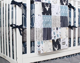 arrow bed gray bedding etsy set il blue market navy nursery crib deer plaid woodland boy