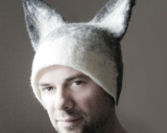 Wolf Hat -- Hand Felted Wool -- Size Medium/Large