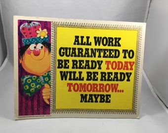 Vintage 1969 Roth Greeting Card Funny Procrastination Plaque/Stand up Sign - Good Office Humor!