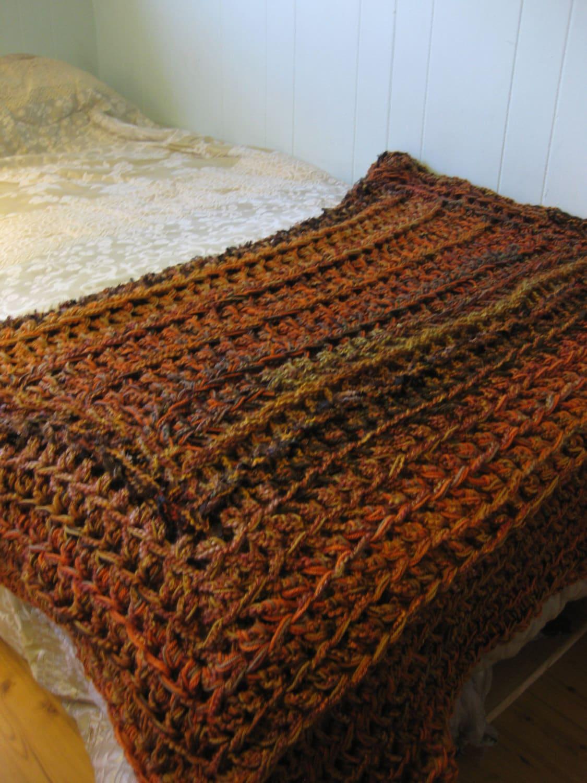 Blanket crochet blanket burnt orange and chocolate brown