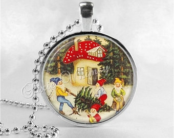 GNOME Necklace, Christmas Tree, Toadstool, Gnome Pendant, Gnome Jewelry Art Charm, Garden Gnome, Garden Jewelry, Elf, Pixie, Dwarf