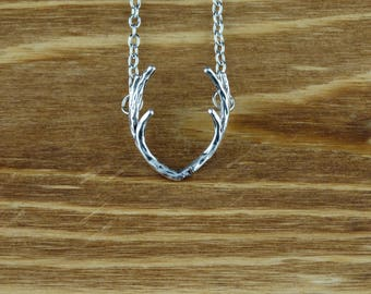 Silver Antler Necklace