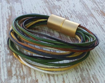 Multistrand leather bracelet with a gold magnet clasp ,leather jewelry ,  boho bracelet , hand made