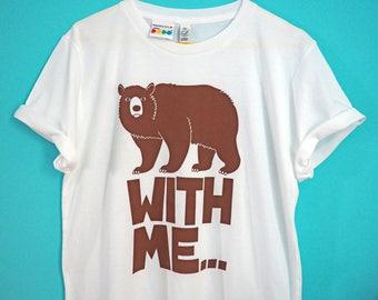 BEAR Tshirt, Funny Tshirt, Unisex Screenprint Tshirt, Animal Tshirt, Screenprinted Tee, Mens White Tee, Boyfriend T-shirt, Pun Tshirt