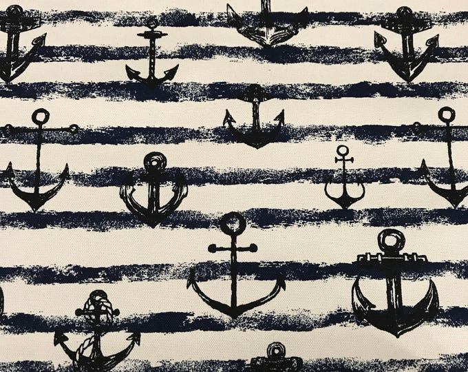 Kokka - Navy Anchor Stripe - Cotton Canvas - Heavy