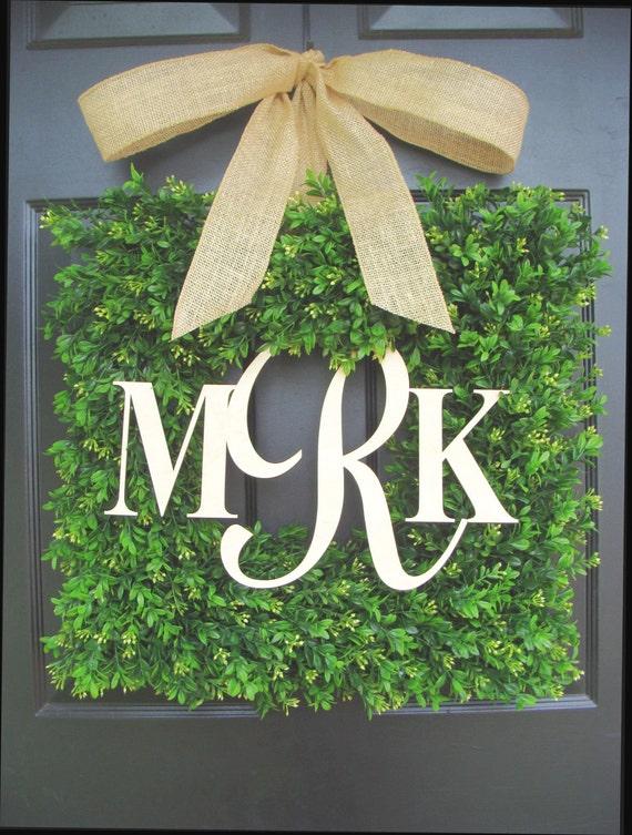 Square Boxwood Monogram Wreath with Burlap Bow, Monogram Boxwood Wreath 20 INCH