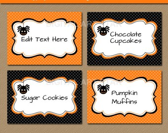 Halloween DIY Food Labels, Printable Food Tags, Halloween Tent Cards, Candy Tags - Orange Black Spider Labels - Diy Halloween Party Labels