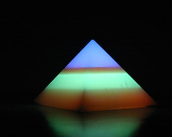 Banded Glow-in-the-Dark Pyramid - Large - 4-Band - Blue, red, green, orange (top down)