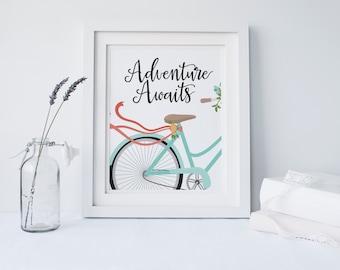 """PRINTABLE Art """"Adventure Awaits"""" Bike Art Print Bicycle Art Print Blue Floral Bicycle Art Print Travel Art Print Travel Wall Art Floral Art"""
