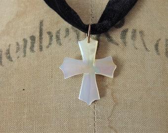 Vintage Mother of Pearl Cross Choker Necklace Jewelry | Black Velvet Choker Necklace Jewellery | Carved Mother of Pearl Pendant Necklace