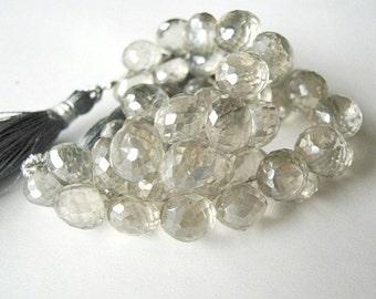 Silver Gray Quartz Gemstone, Faceted  Onion Briolettes, Semi P/recious Gemstone Bead. 8-9mm.  1 - 5 Briolette (11QSG1).